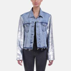 RtA Haylee Sequined Sleeve Denim Jacket
