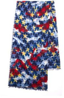 Valentino Camouflage Stars Cashmere & Silk Scarf