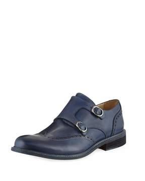 Bugatchi Rimini Monk-Strap Leather Loafer, Blue