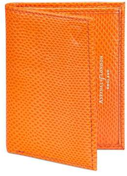 Aspinal of London Double Credit Card Case With Back Pocket In Orange Lizard Cream Suede