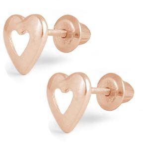 Ice Girls' 14k Rose Gold Open Heart Stud Earrings