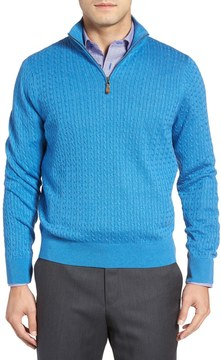 David Donahue Cable Knit Quarter Zip Sweater