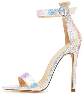 Charlotte Russe Holographic Faux Snakeskin Two Piece Sandals
