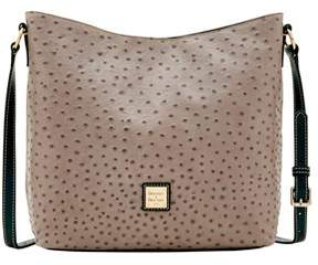 Dooney & Bourke Ostrich Hobo Crossbody Shoulder Bag. - GREY - STYLE