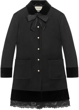 Wool coat with lace detail