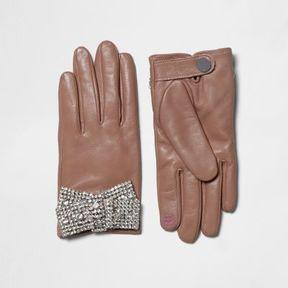 River Island Womens Pink leather dimante embellished gloves