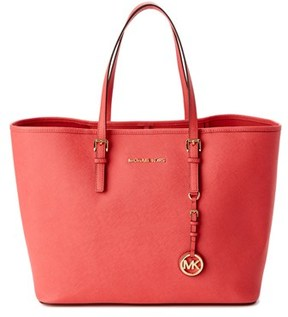 MICHAEL Michael Kors Jet Set Leather Tote. - RED - STYLE