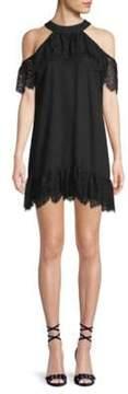 Ella Moss Lace Cold-Shoulder Halter Dress