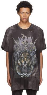 Balmain Black Oversized Destroy Tiger T-Shirt