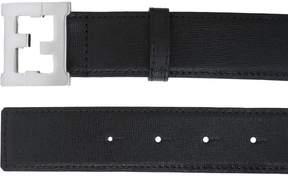Logo Buckle Saffiano Leather Belt