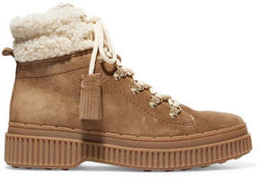 Tod's Shearling-trimmed Suede Ankle Boots - Tan