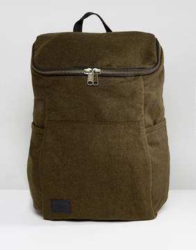 Asos Backpack In Khaki Melton