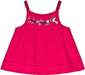 Catimini Pink Flower Embroidered and Pom Pom Top