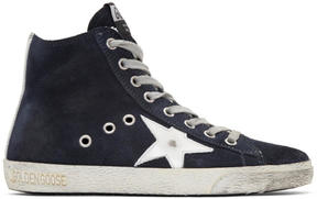 Golden Goose Deluxe Brand Navy Suede Francy High-Top Sneakers