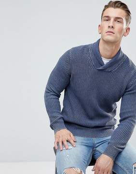 Esprit Shawl Collar Sweater In 100% Cotton With Oil Wash