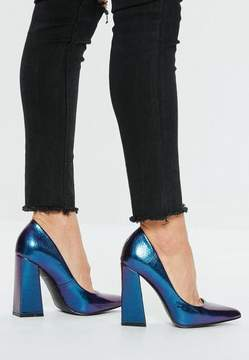 Missguided Blue Flared Point Heel Pumps