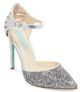 Betsey Johnson Avery Shimmering Ankle Strap Pumps