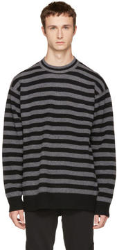 Alexander Wang Grey Striped Merino Crewneck Sweater