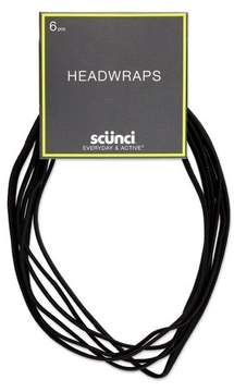 Scunci 6mm Flat No Damage Elastic Headwraps Black - 6pk