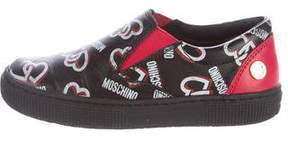 Moschino Girls' Leather Logo Print Sneakers