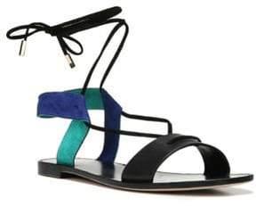 Diane von Furstenberg Estonia Leather & Suede Lace-Up Sandals
