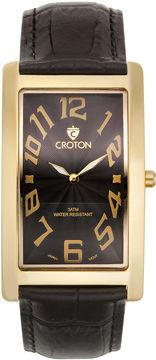 Croton Mens Black And Goldtone Rectangular Strap Watches