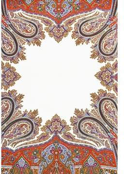 Saint Laurent Pre-owned White Multicolor Paisley Print Square Oversized Square Scarf.