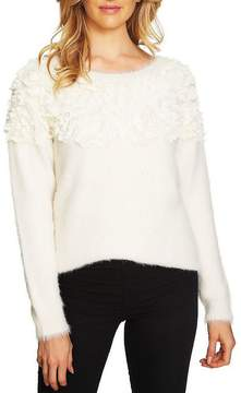 CeCe Fuzzy Embellished Sweater