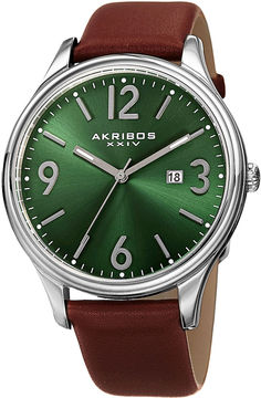 Akribos XXIV Mens Green Dial Brown Leather Strap Watch