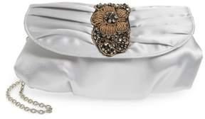 Menbur Bead & Crystal Embellished Satin Clutch - Grey