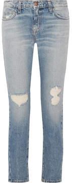 Current/Elliott The Fling Distressed Low-rise Slim Boyfriend Jeans - Light denim