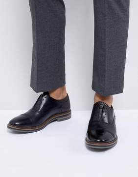 Base London Harvey Leather Laceless Oxford Shoes in Black