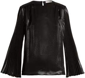 Christopher Kane Pleated-sleeved silk-blend top