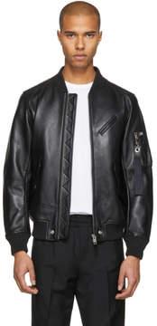 Diesel Black Leather L-Wildfire Bomber Jacket