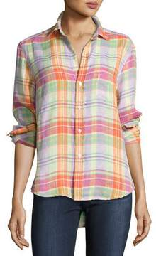 Frank And Eileen Eileen Plaid Pocket Shirt, Purple/Green/Orange