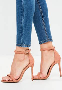 Missguided Pink Rounded Strap Barely There Sandals