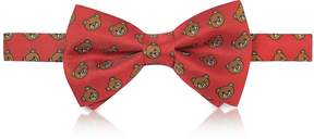 Moschino Red Multi Teddy Bear Print Twill Silk Pre Tied Bow Tie