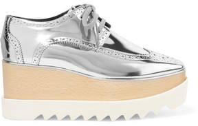 Stella McCartney Elyse Metallic Faux Leather Platform Brogues - Silver