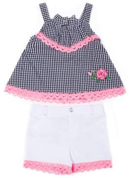Little Lass Toddler Girls' Gingham Tank Top & Lace Trim French Terry Shorts, 2Pc Outfit Set