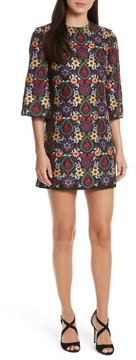 Alice + Olivia Women's Coley Embroidered Bell Sleeve Dress