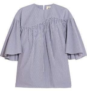 Awake Ruffled Striped Cotton-Poplin Blouse