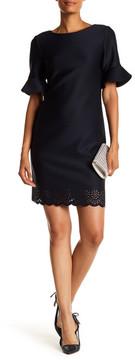 Donna Ricco Bell Sleeve Scuba Sheath Dress