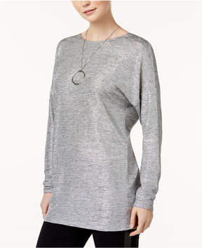 Bar III Metallic Twist-Back Top, Created for Macy's