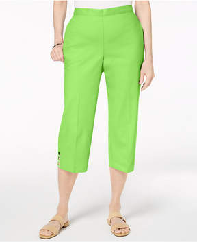 Alfred Dunner Turks & Caicos Cropped Ladder-Hem Pull-On Pants