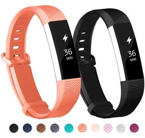 Fitbit POY 2-Pack Replacement Sport Wrist Strap Bands for Alta Alta HR (Black, Coral)