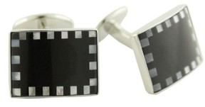 David Donahue Men's Sterling, Onyx & Mother-Of-Pearl Cuff Links