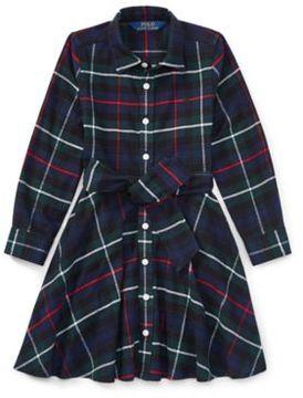 Ralph Lauren Tartan Flannel Cotton Dress Royal Tartan 4T