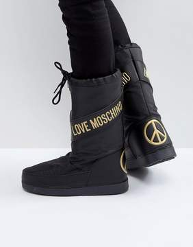 Love Moschino Peace Logo Snow Boots