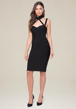 Bebe Knit Choker Neck Dress