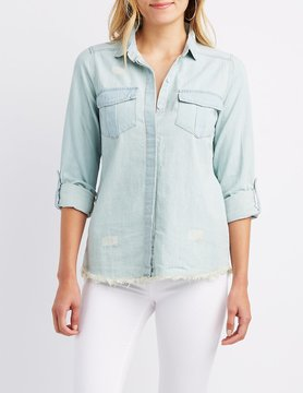 Charlotte Russe Frayed Chambray Button-Up Shirt